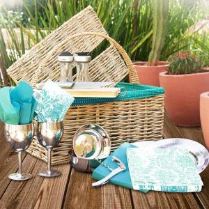 Hand-woven Straw Picnic Basket lined with Blue Shwe Shwe fabric