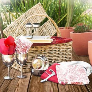 Hand-woven Straw Picnic Basket lined with Red Shwe Shwe fabric