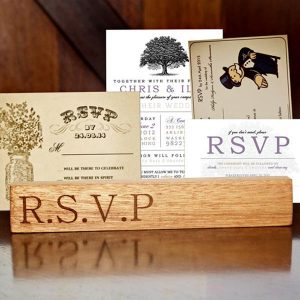 Kiaat Wood Personalised RSVP Stand