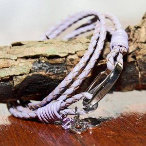 "Lilac Leather Charm bracelet ""Live Laugh Love"""