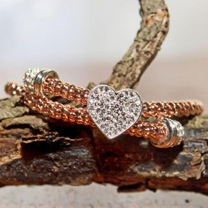 Rose Silver Plated mesh diamante Heart Bracelet