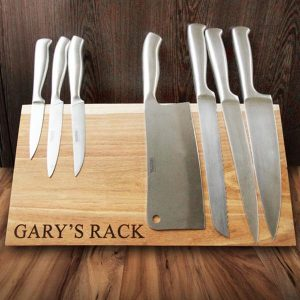 Personalised magnetic wooden knife rack
