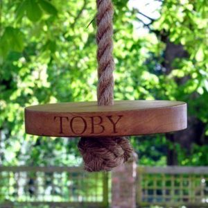 Personalised round kiaat swing