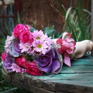 Spring Bouquet, Roses, Cabbage Flowers wrapped in Hessian