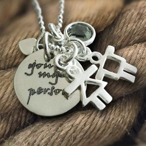 Sterling silver personalised disc with stick figures,heart & crystal