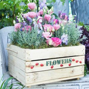 Wooden Crate Lavender and Flowers