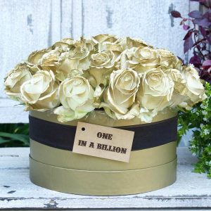 Hat Box Gold Roses