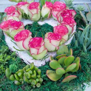 Heart Shaped Roses Arrangement