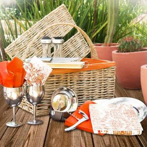 Hand-woven straw picnic basket orange fabric