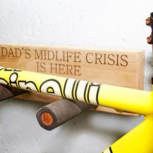 Personalised wooden road bike rack