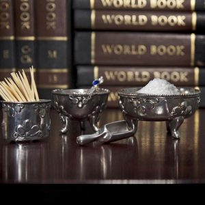 Pewter tooth pick holder, mustard bowl and sugar bowl