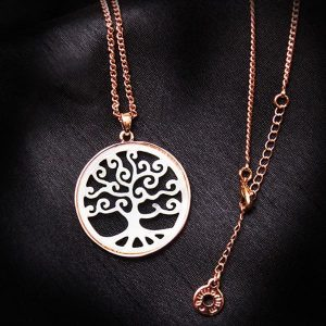 Rose gold plated mother of Pearl tree of life