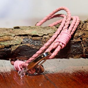 "Pink Leather charm Bracelet ""Friends forever"""