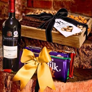 Stacks of snacks and Wine Gift Hamper