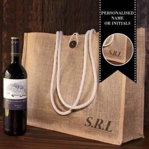 Personalised Hessian Carry Bag with Red Wine