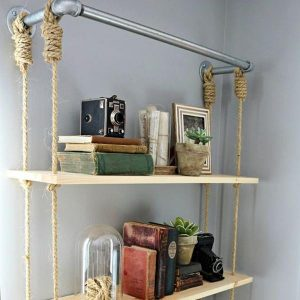 Rope & Pipe Hanging Shelves