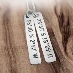 GPS Co-ordinates on a Sterling Silver Tags