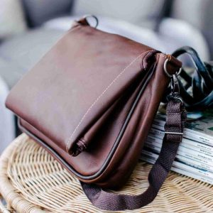 Small leather nappy bag