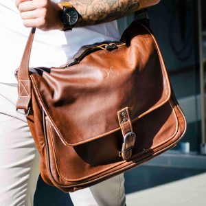 Urban tobacco leather work satchel